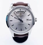 Breitling Transocean Day & Date Mercury Silver Brown Leather Watch A4531012 43mm