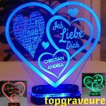 Liebe Valentinstag Geschenk Ihr Name Geburtstag Hochzeitstag Herz Led Licht Ebay