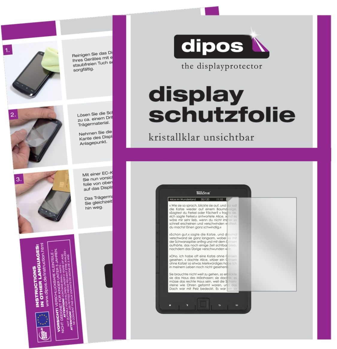 2x TrekStor eBook Reader Pyrus Schutzfolie klar Displayschutzfolie Folie Display