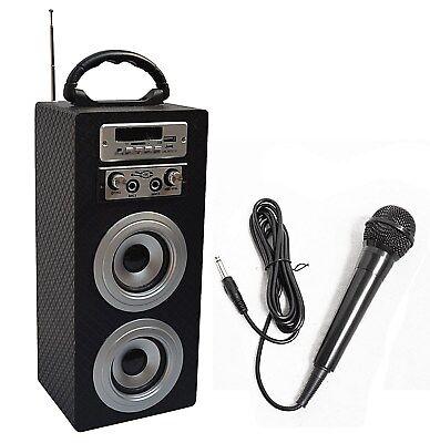 MOBILE BLUETOOTH LAUTSPRECHER + MIKROFON_CARBON LOOK_FM_AUX_USB_SD_MP3_BOX33