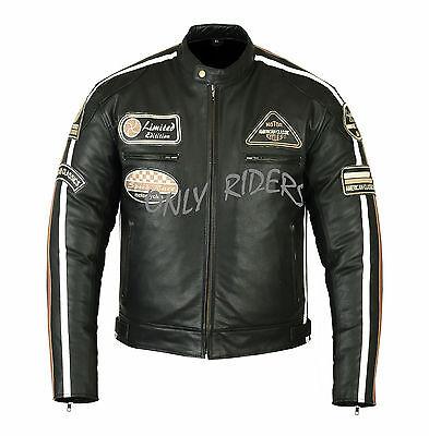 Chaqueta Con Proteccinones Para Moto En Cuero, Cafe Racer, Vintage, Biker, Negro
