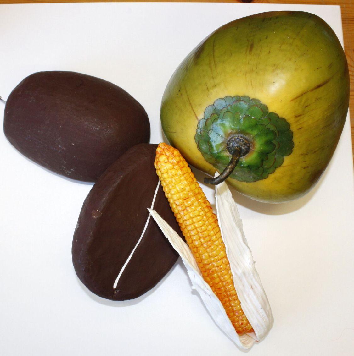 Deko-Obst Kunstgemüse Mais Kokosnuss Kaffeebohnen riesengroß  Dekoration  Z