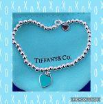 "Tiffany & Co. 925 Blue Enamel Mini Heart Tag Bracelet - 6.5""long"