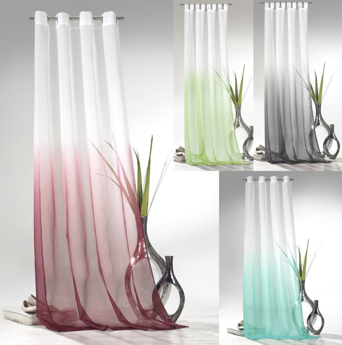Ösenschal Schlaufenschal Gardine m. Farbverlauf Voile transparent Ökotex Typ501