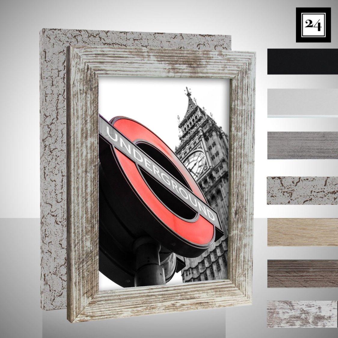 Bilderrahmen London Holz MDF Foto Poster Rahmen Farbwahl 40 Größen Günstig 28mm