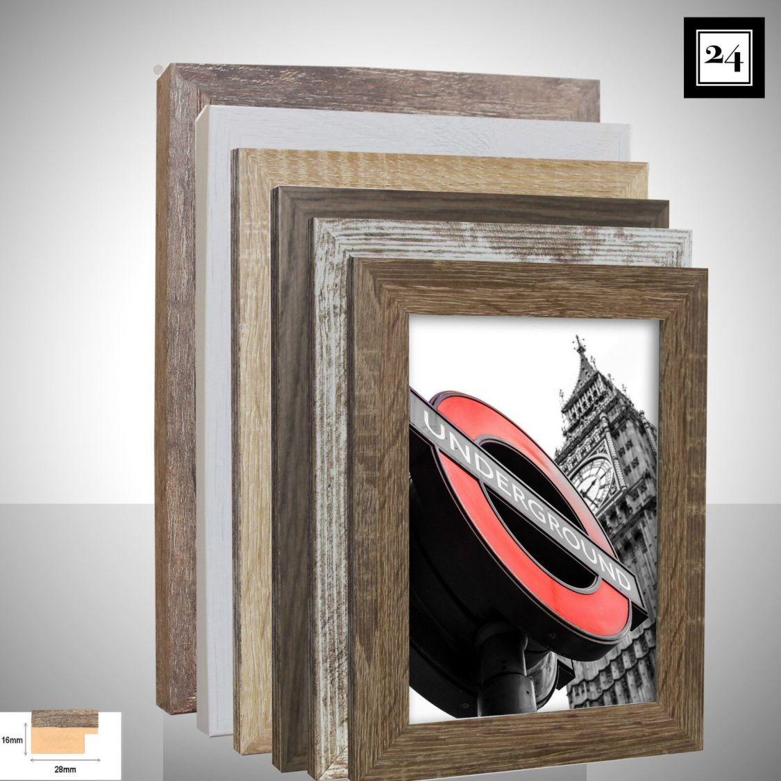 Bilderrahmen London Holz MDF Foto Poster Rahmen 6 Holz-Farben Modern 40 Größen
