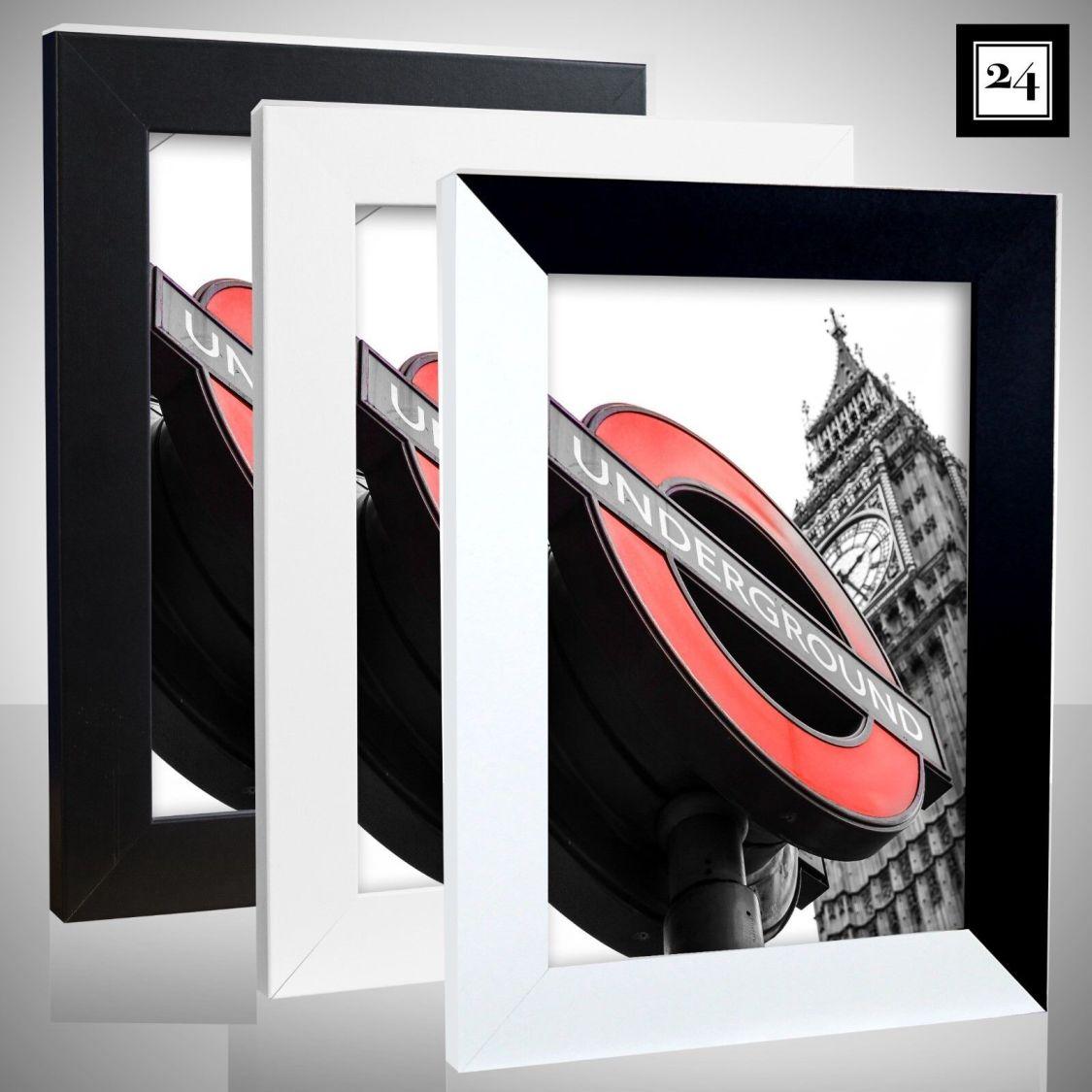 Bilderrahmen London Holz MDF Foto Poster Rahmen Schwarz Weiß 60 Größen Günstig