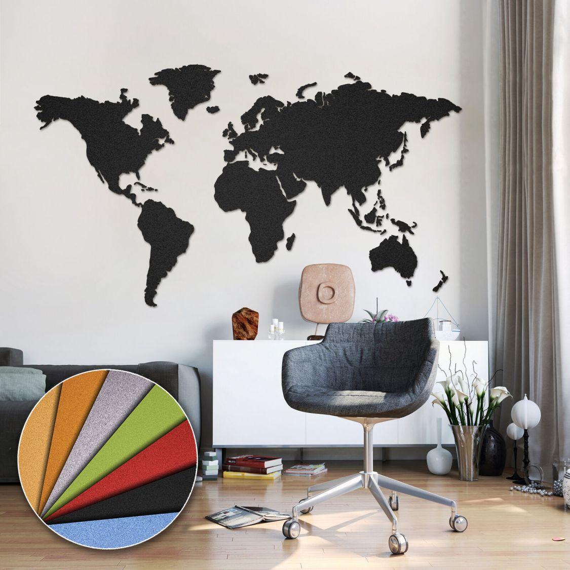 Weltkarte Kork Pinnwand Korktafel Memoboard Bilder Selbstklebend! 8 Farben!