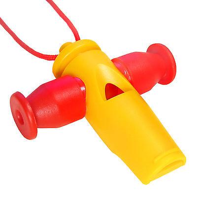 KEEPDRUM Samba-Pfeife mit 3 Tonhöhen Tri-Tone Whistle Apito Gelb-Rot