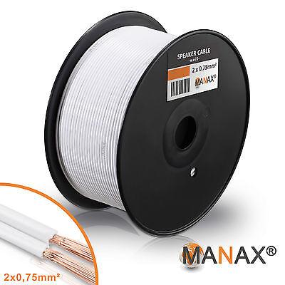 100m Zwillingslitze 2x 0,75mm² Lautsprecherkabel Boxenkabel weiß 2-adrig
