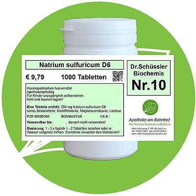 Schüßler - Salz 10 Natrium sulf. D6 glutenfrei 1000 Tabletten PZN 08000360