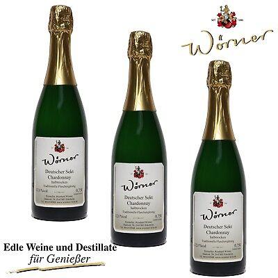 (15,11€/l) 3 Fl Deutscher Sekt Flaschengärung Chardonnay halbtrocken WÖRNER