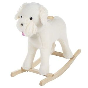 Rocking Horse Shaggy the Schnoodle Dog on Wooden Rocker