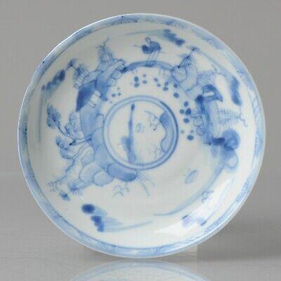 Antique 18C Kangxi Chinese Porcelain Blue & White Dish Landscape Scholar