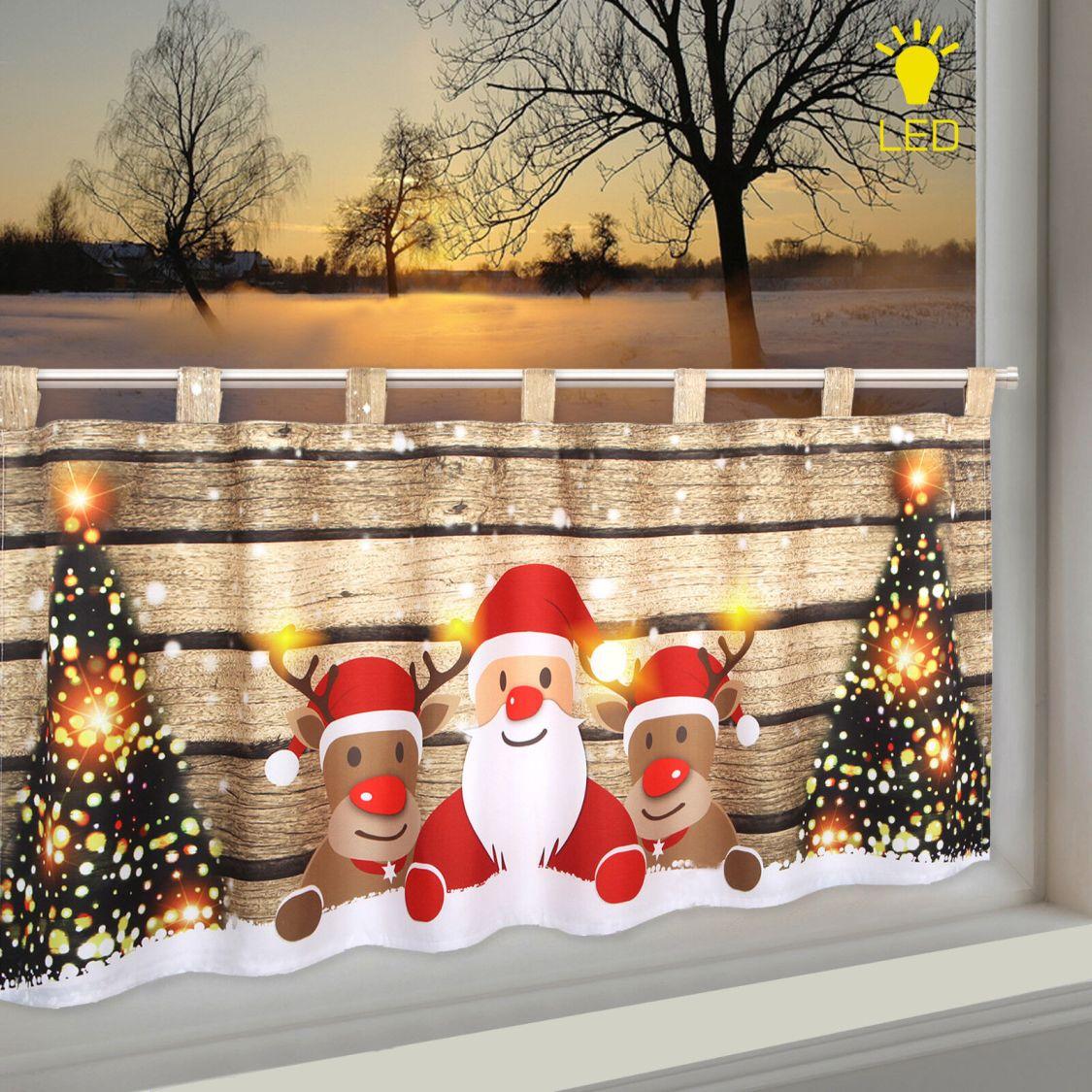 LED Scheibengardine Bistrogardine Weihnachtsmann Wichtel 45x120 cm beleuchtet