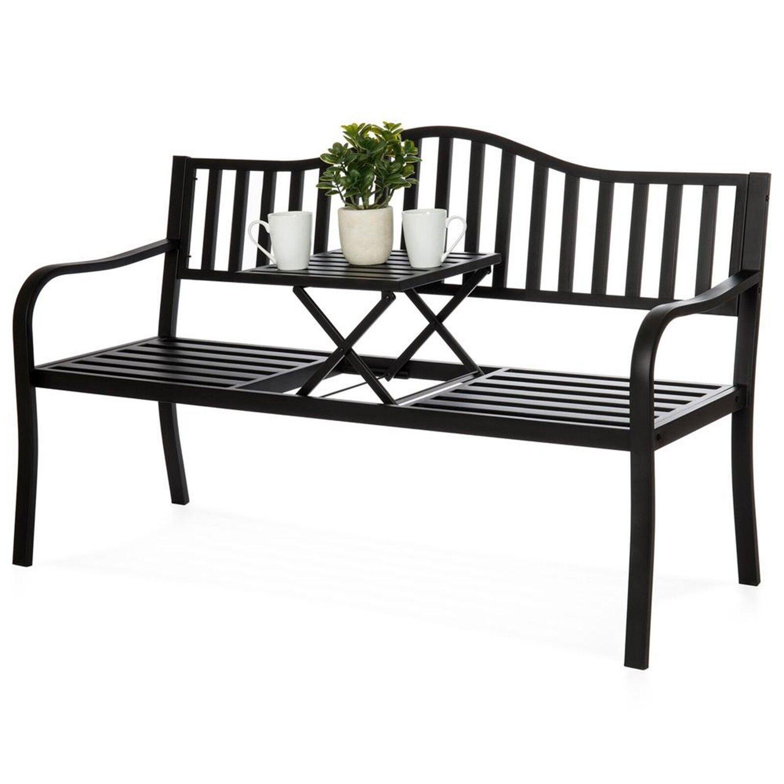 Metal Garden Bench Cast Iron Patio Furniture Porch Seat Adjustable Table Steel 718569027351 Ebay