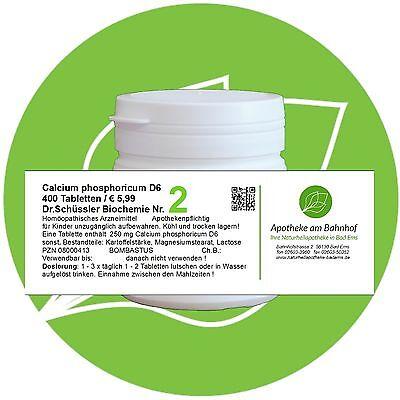 Schüßler - Salz Nr.2 Calcium phos. D6 glutenfrei 400 Tabl. PZN 08000413