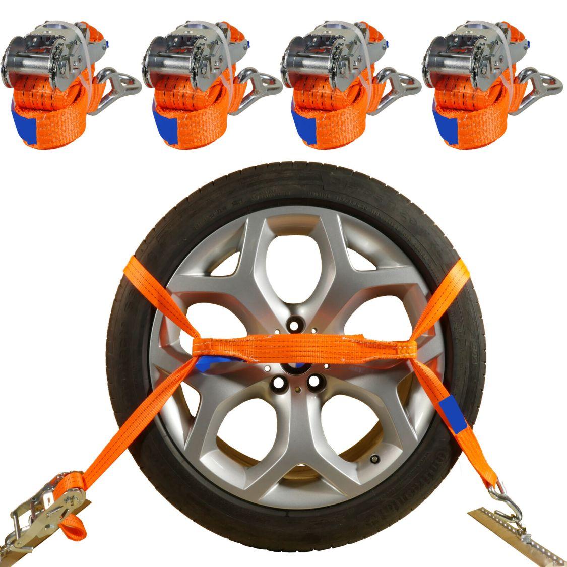 4 x Profi Auto Transport Spanngurt Radsicherung Reifengurt Zurrgurte PKW  DIN EN
