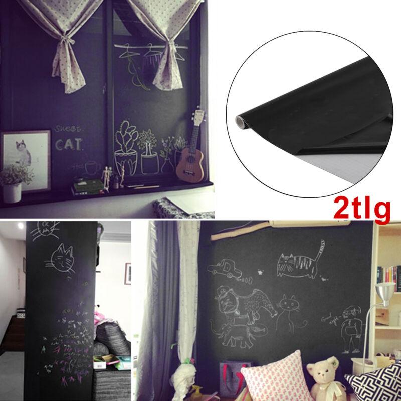 2x Tafelfolie schwarz selbstklebend 60x200cm Kreide Folie Wanddeko