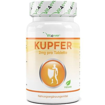 Kupfer 365 Tabletten mit 2mg  - Hohe Bioverfügbarkeit - Kupfergluconat - Vegan