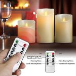 Candles Set Of 3 Luminara Flameless LED Timer Remote WAX Pillar Ivory Party Gift