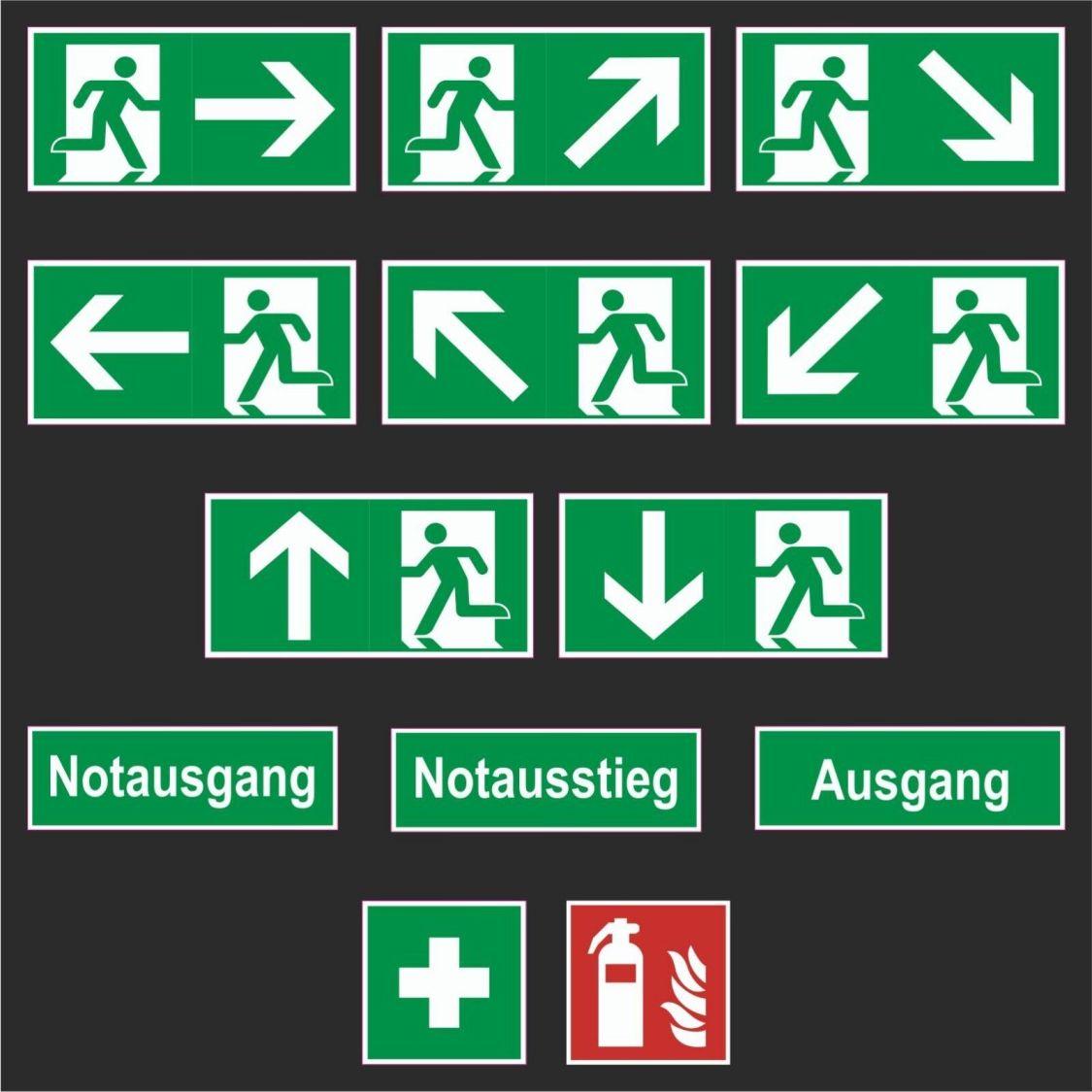 Fluchtweg Notausgang Schild Rettungsweg nachleuchtend selbstklebend ASR A1.3