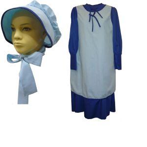 Colonial Schoolgirl Dress Apron & Bonnet, Prairie Dress Laura Ingalls Dress 1228