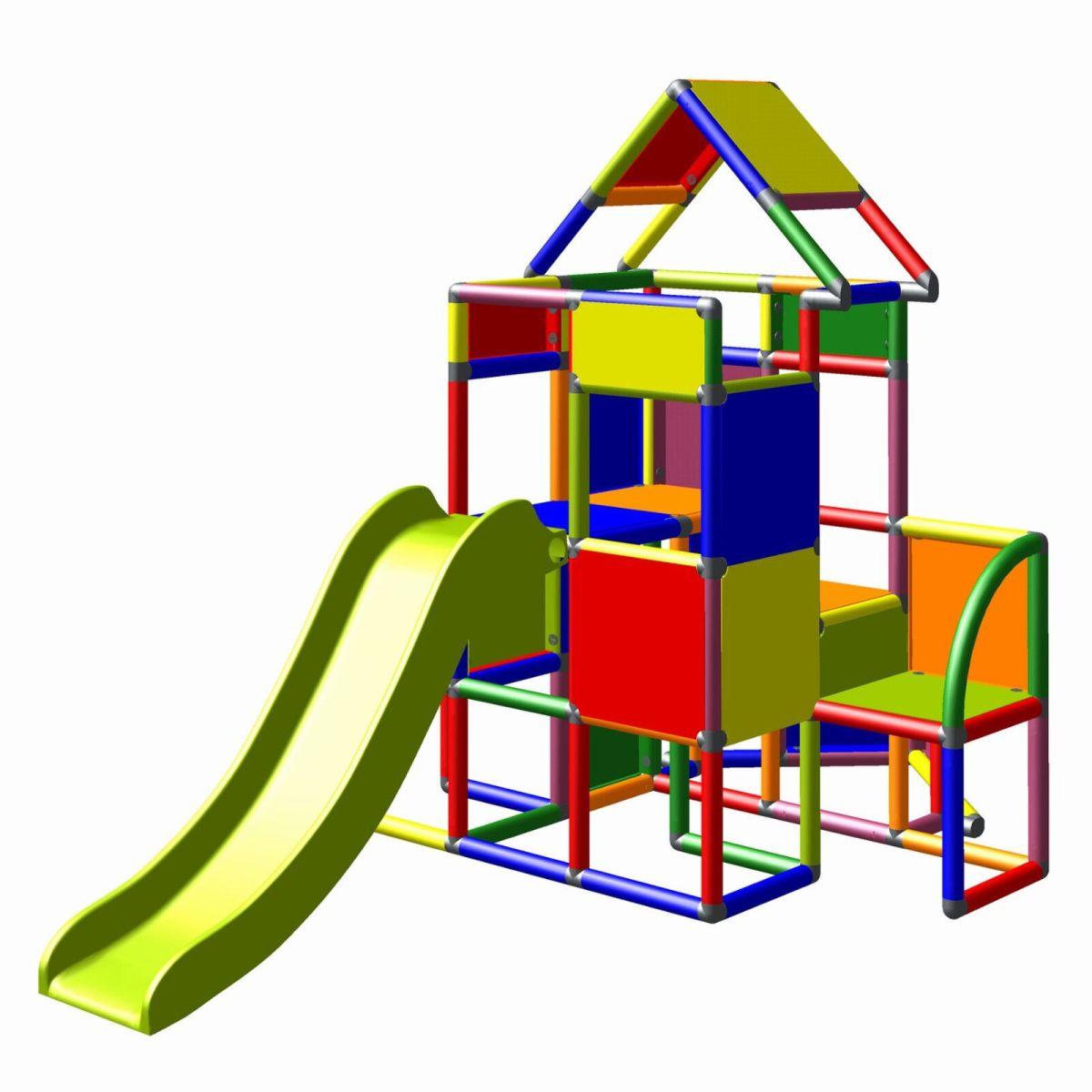 Moveandstic großer Spielturm Lisa mit Rutsche Kletterturm multicolor Baukasten