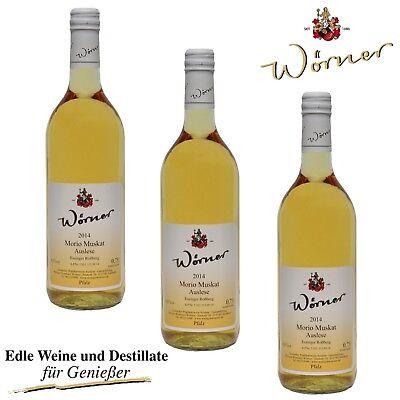(12,22€/l) Morio-Muskat Auslese 3x0,75l WEINGUT WÖRNER Pfalz Wein Dessertwein