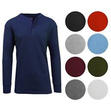 Men's Long Sleeve 3 Button Henley Waffle Knit Thermal - Undershirt- Tee-...