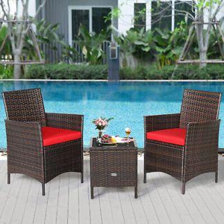 Patiojoy 3PCS Patio Rattan Furniture Set Glass Tabletop Cushioned Sofa Deck Red