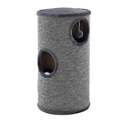 [en.casa]® Kratztonne Grau 70x37x37cm Kratzsäule Kratzturm Kratzbaum Katzenbaum