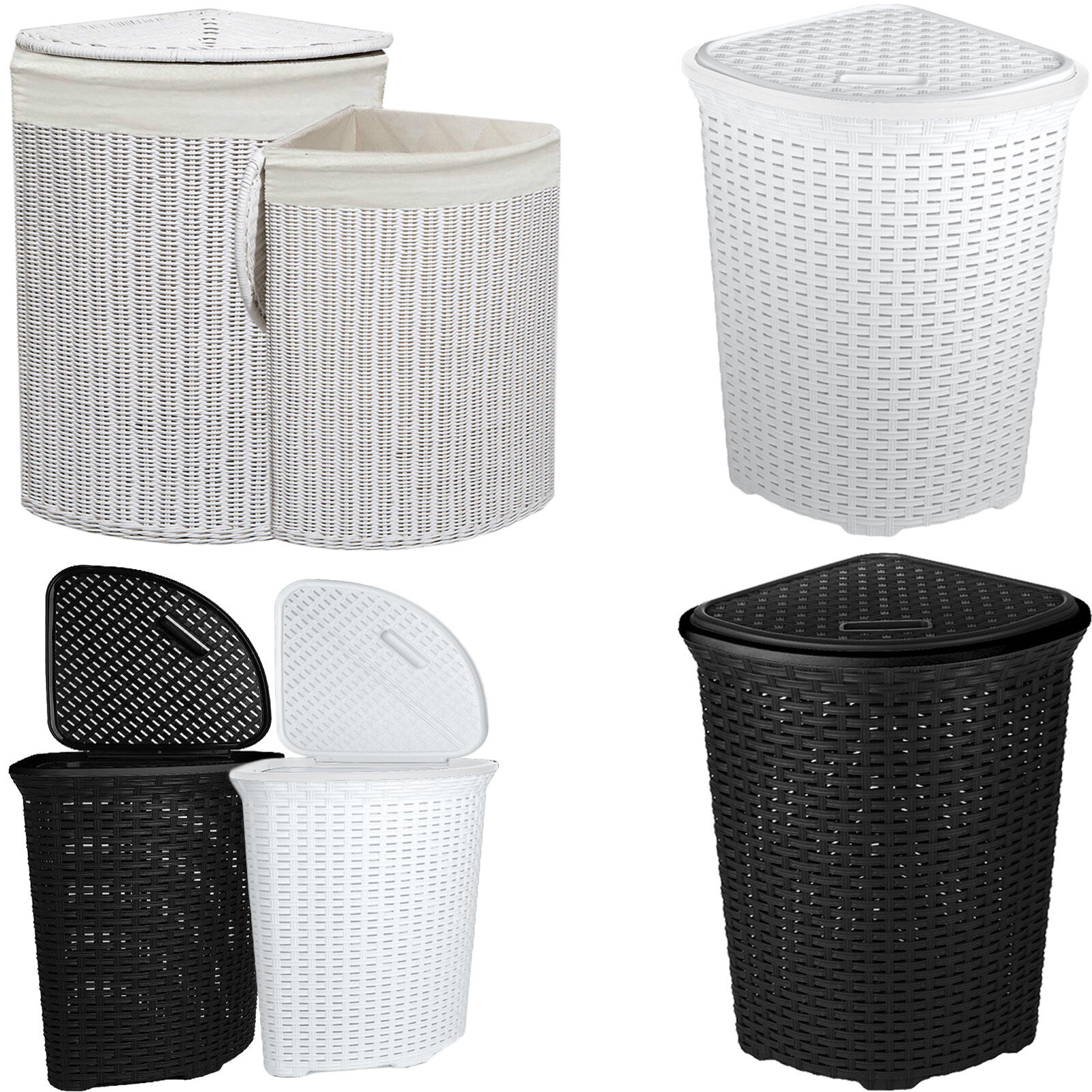 Large Corner Rattan Wicker Laundry Basket Cloth Lining W Lid Hamper Storage Bin Ebay