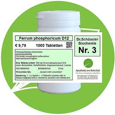 Schüßler - Salz 3 Ferrum phos.  D12 glutenfrei 1000 Tabletten PZN 08000548