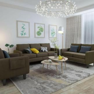3 Pieces Sofa Set with 3 Seat Sofa Couch, Loveseat, Single Sofa Chair Brown
