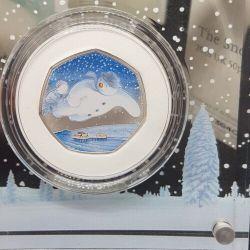 *ERROR*2018 Royal Mint ALL BLUE SNOWMAN 50p/Silver Proof Coin/COA03640/