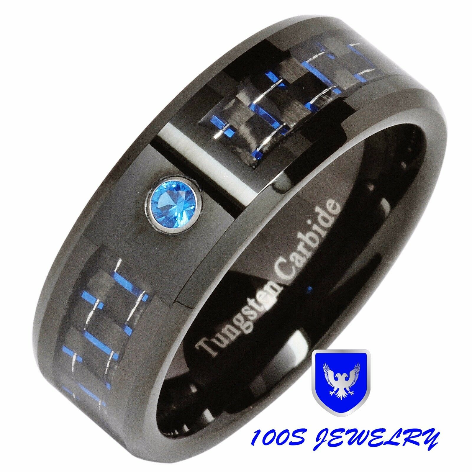 8MM Tungsten Ring Blue Diamond Carbon Fiber Inlay Mens