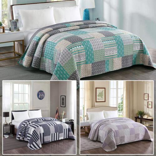 Tagesdecke Bettüberwurf Steppdecke Plaid Bett Decke Patchwork doppelseitig #1077
