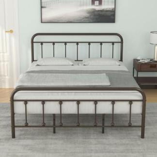 King Size Metal Platform Bed Frame with Vintage Headboard and Footboard