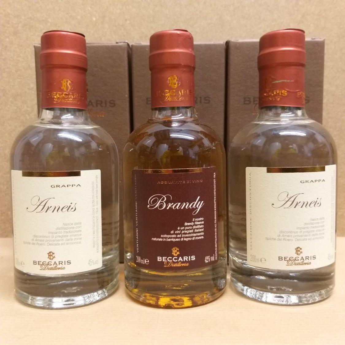 Beccaris Arneis Grappa 45 % Alkohol und Beccaris Brandy 42 % Alkohol 3 Flaschen