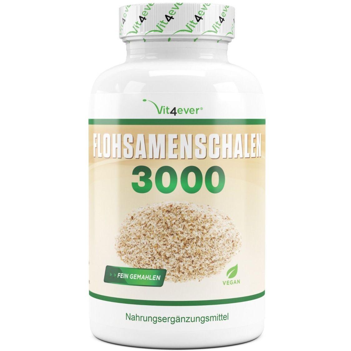 FLOHSAMENSCHALEN 360 Kapseln - 100% Vegan - Sättigung Verdauung + Laborgeprüft !