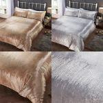 Tiffany Soft Velvet Metallic Print Sequins Duvet Quilt Cover Gold Silver Grey Ebay