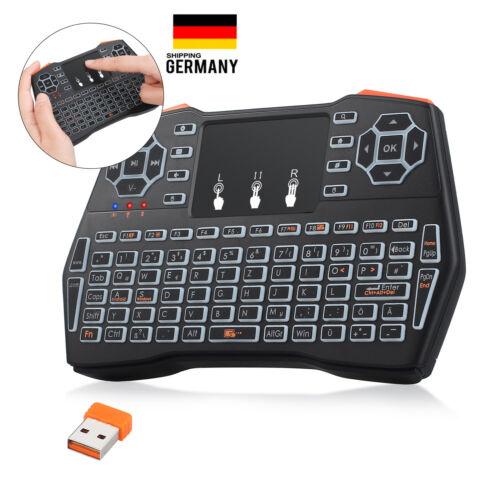 Mini Tastatur Wireless Touchpad Maus mit Beleuchtet QWERTZ für TV HTPC Box PS3