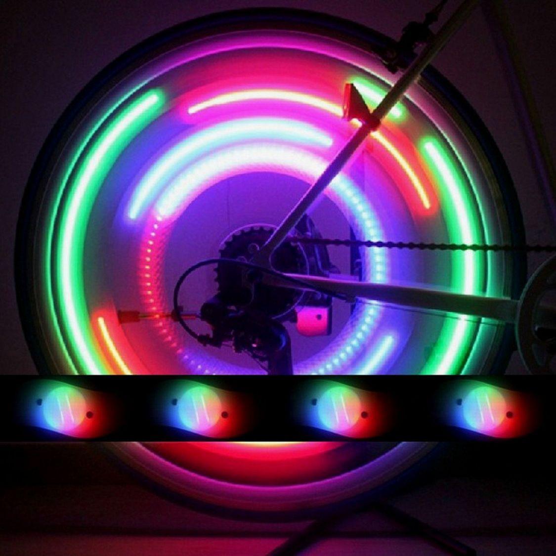 2x LED Speichenlicht Fahrrad Speichenstrahler Speichen Reflektoren Blinker Licht