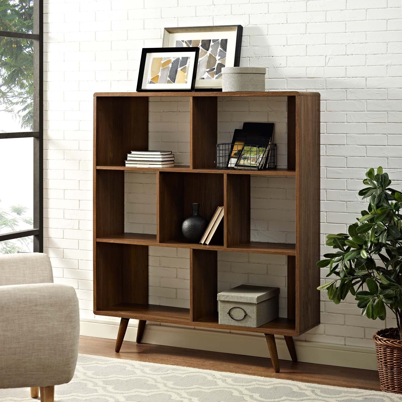 Details About Mid Century Modern Cube Walnut Wood Bookcase Display Shelf Organization Stand