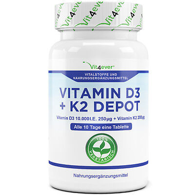 Vitamin D3 10.000 I.E. + Vitamin K2 200mcg 100 Tabletten MK7 Menachinon-7 IE IU