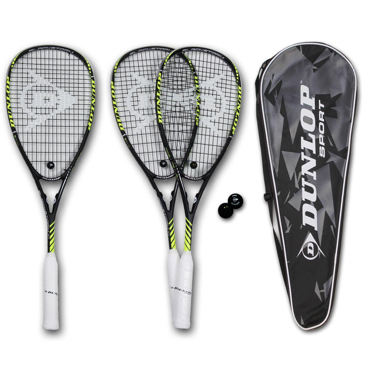DUNLOP Blackstorm Ti Squashschläger Squashset Ball 2 Punkte Tasche 4 Varianten