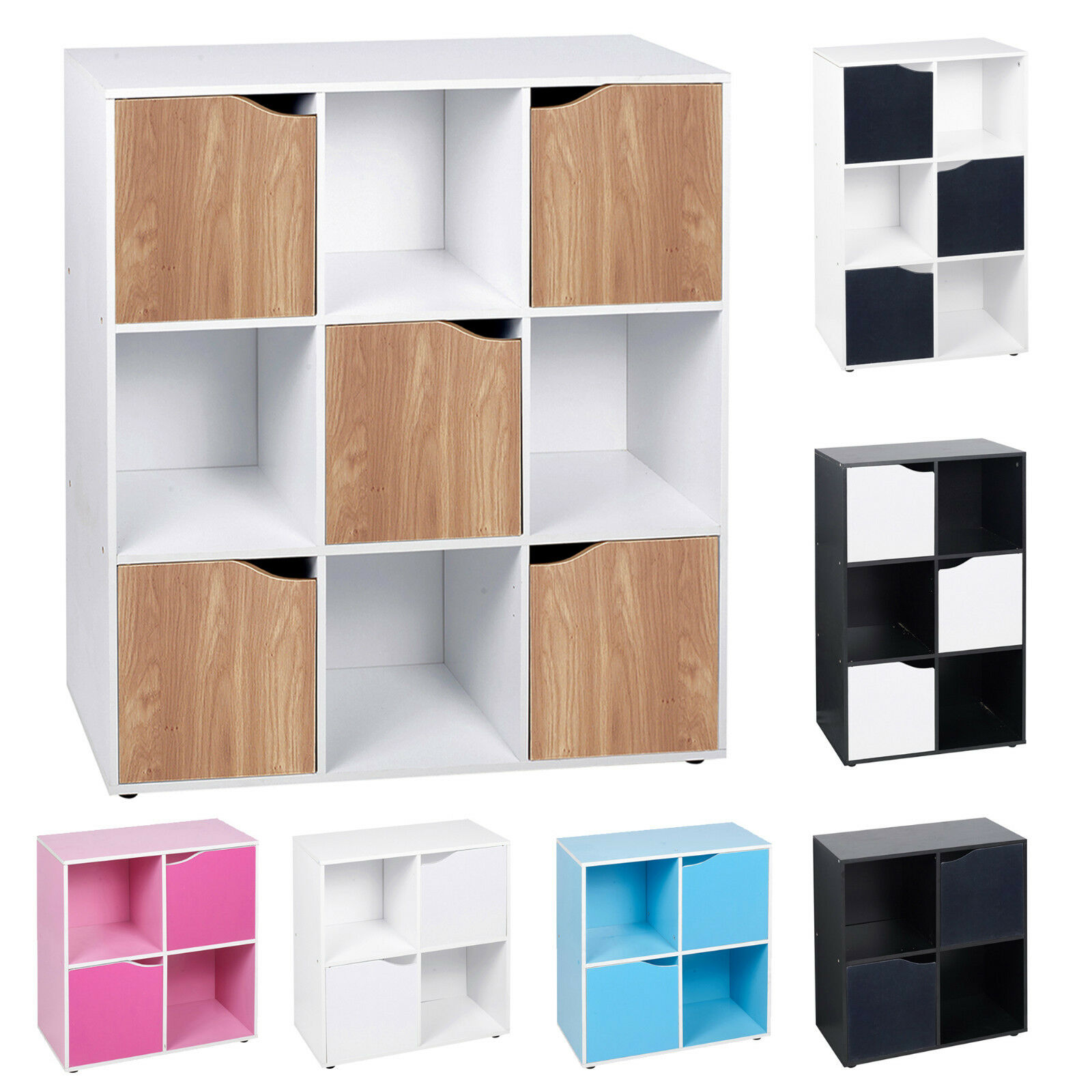 4 6 9 Cube Wooden Bookcase Shelving Display Shelves Storage Unit Wood Shelf Door