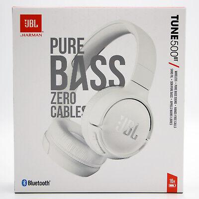 JBL Tune500BT On-ear Kabellose Kopfhörer Bluetooth Pure Bass Weiß BRANDNEU