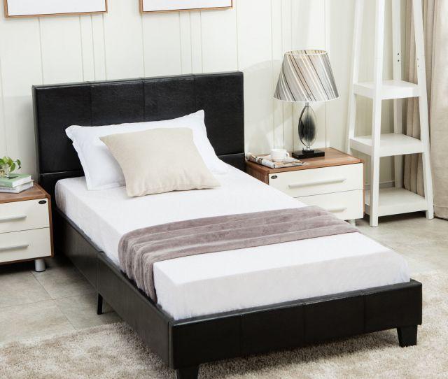 Twin Size Bed Frame Platform Slats Faux Leather Upholstered Headboard Bedroom